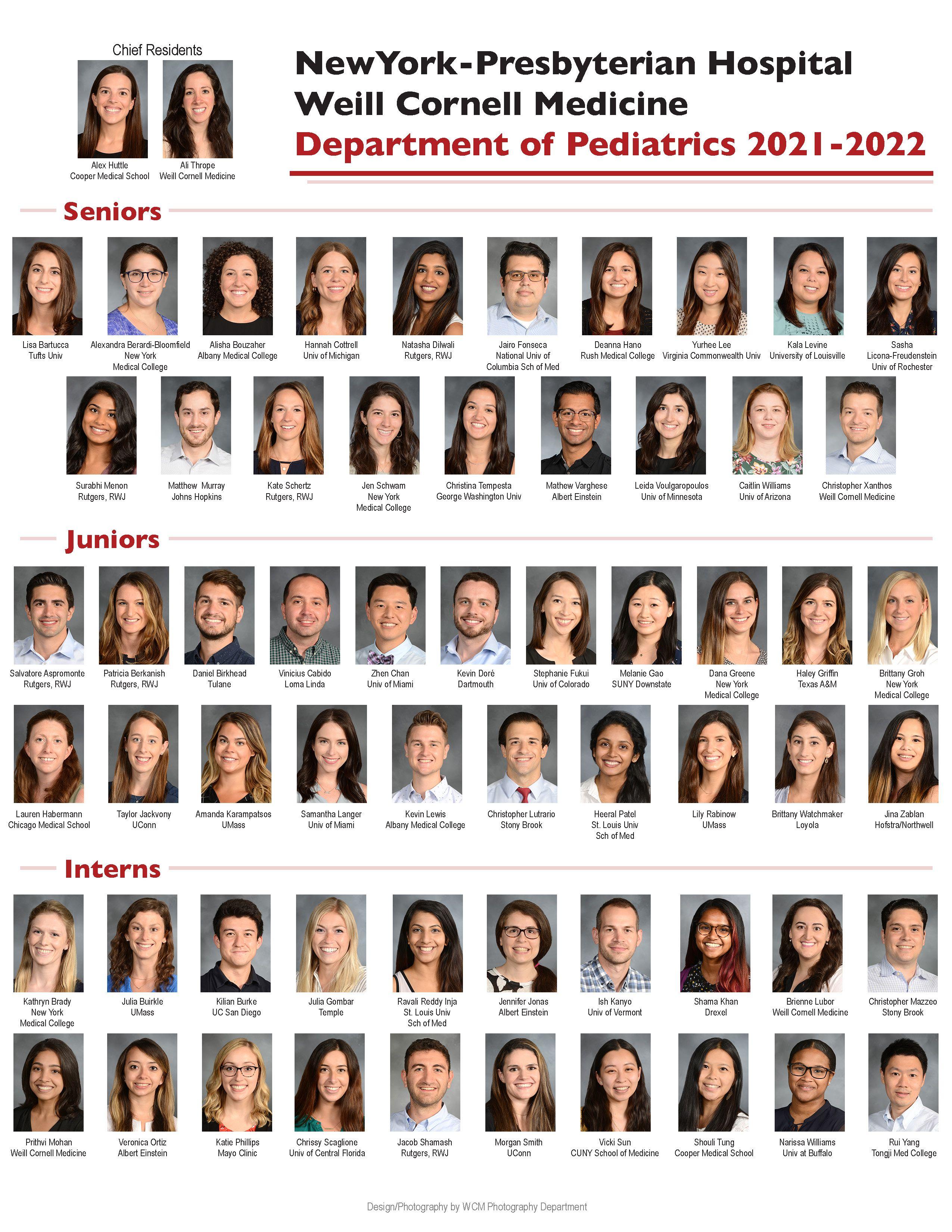 Composite of 2021-2022 Pediatrics Department residents