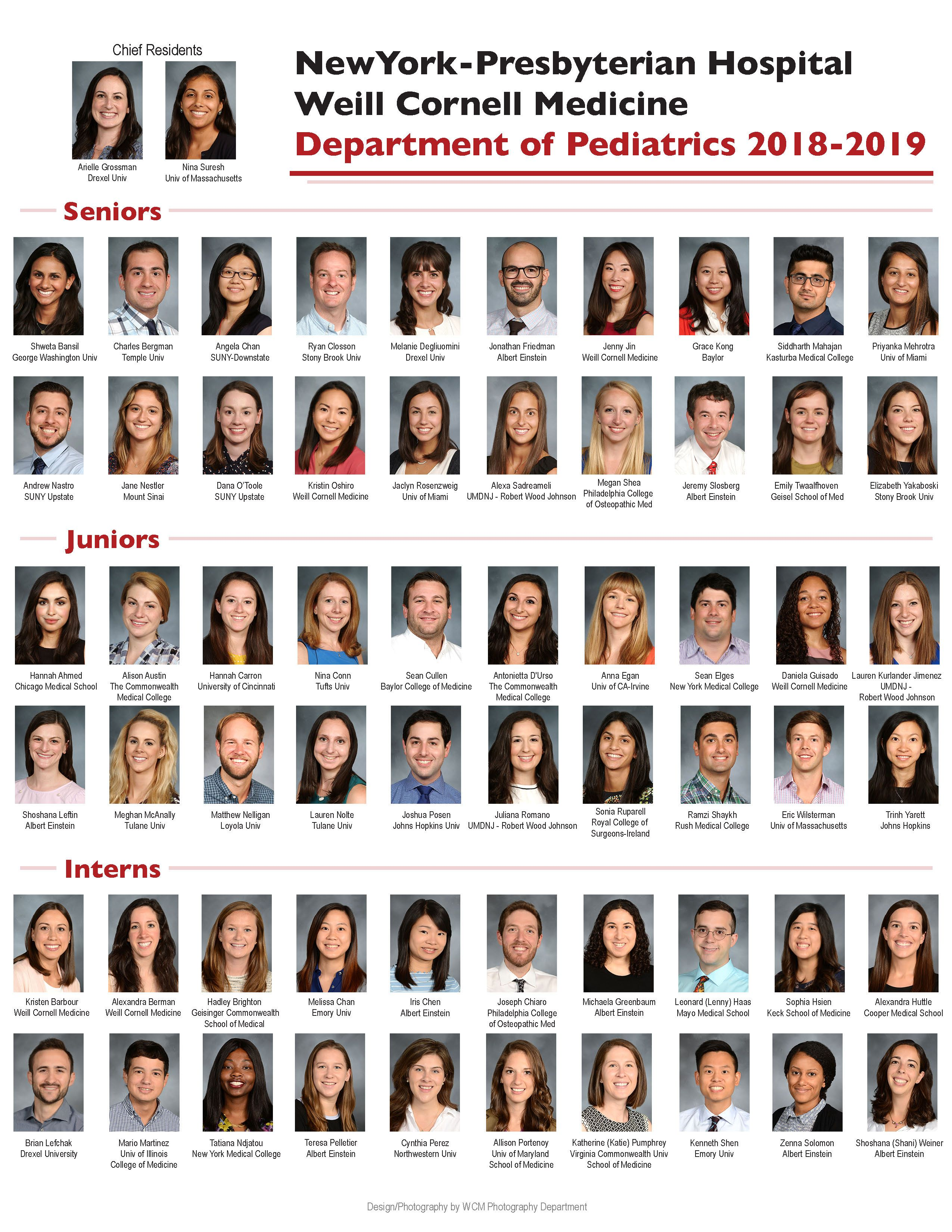 Weill Cornell Medicine Pediatrics Residents Composite Photo 2018-2019