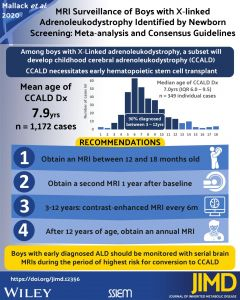 Journal of Inherited Metabolic Disease Visual Abstract featuring our publication on the MRI Surveillance of Boys with X‐linked Adrenoleukodystrophy Identified by Newborn Screening
